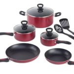 Mirro A796SA Get A Grip Aluminum Nonstick Cookware Set, 10-Piece, Red