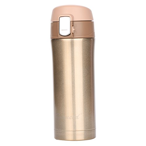 Insulated Stainless Steel Vacuum Flask Travel Coffee Mug 12 oz, Double Walll Leak Proof Beverage Thermos Bottle,Golden