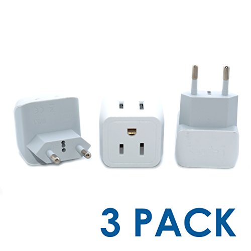 Ceptics CT-9C USA to Most of Europe Travel Adapter Plug – Type C (3 Pack) – Dual Inputs – Ultra Compact (Does Not Convert Voltage)