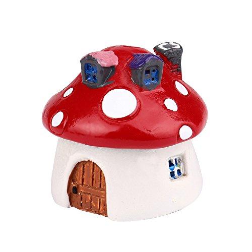 Kanzd Mushroom Miniature Garden Ornament DIY Craft Pot Fairy Dollhouse Decor (Red)