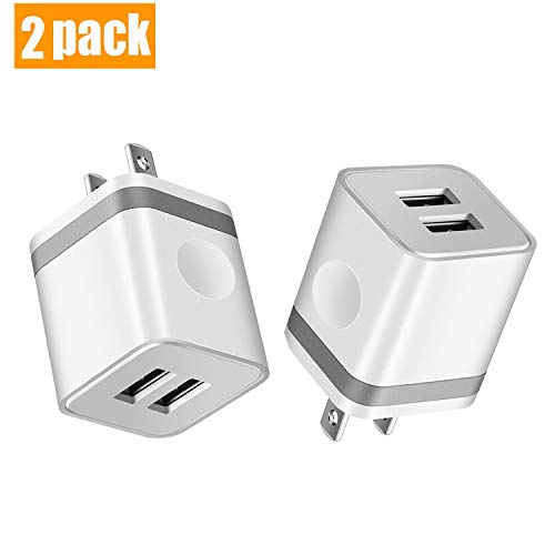 KEAIO USB Wall Charger, [UL Certified] 2.1A/5V Dual Port USB Plug Power Adapter Charging Block Cube Compatible with iPhone X 8 7 6 Plus 5S SE, iPad, Samsung, Android Cell Phone, 2-Pack (Grey)