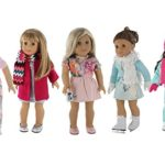 American Girl Doll Winter Clothes – 5 Outfit Holiday / Winter Set for American Girl Doll or 18″ Dolls – Clothes Includes Holiday Party Dress, Ski Outfit, Ice Skating Outfit, Pajamas and More!