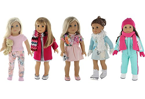 American Girl Doll Winter Clothes - 5 Outfit Holiday / Winter Set for American Girl Doll or 18