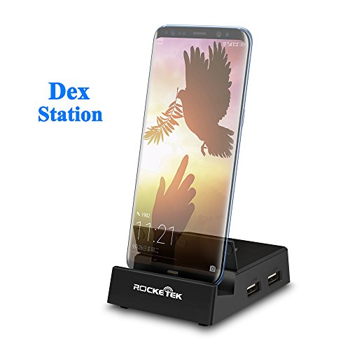 Rocketek USB C Docking Station Compatible with Samsung Galaxy S8/Note8 above – Portable Dock with usb hub&sd card reader/usb c to hdmi converter and USB C PD Charger Replacing the Original Dex Station