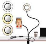 LED Selfie Ring Light, Cell Phone Holder Stand with Selfie Ring Light for for Live Stream, Flexible Mobile Phone Clip Holder Lazy Bracket Desk Lamp LED Light for Bedroom, Office, Kitchen, Bathroom
