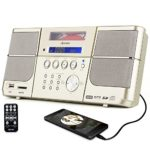 Portable cd player,Boombox DPNAO with headphones jack FM Radio Clock USB SD and Aux gold for kids laptop