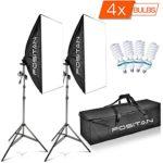 FOSITAN 1600W LED Photo Studio Photography Lighting Kit Softbox, Studio Light Kit for Photo Portrait Video Photography Shoot 20″x28″ LS-2000