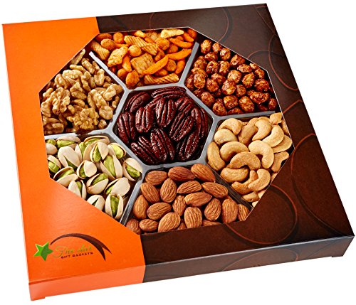 Five Star Gift Baskets, Holiday Nuts Gift Basket – Delightful Gourmet Food Gifts Prime Delivery -Birthday, Christmas, Mothers & Fathers Day Fruit Gift Box Assortment, Men, Women, Families & Corporate