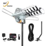 HDTV Antenna-SKYTV Amplified Digital TV Antenna 150 Miles Long Range Attic HD Antenna with 360° Rotation -Wireless Remote – 33FT Coaxial Cable for FM/VHF/UHF Channels(with Mount Pole)