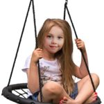 Sorbus Spinner Swing – Kids Indoor/Outdoor Round Web Swing – Great for Tree, Swing Set, Backyard, Playground, Playroom – Accessories Included (24″ Net Seat)