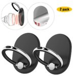 AOPETIO Cell Phone Ring Holder Stand Hand, [2 Pack] 360°Rotation Kickstand Magnetic Car Mount Hand Grip Finger Ring Anti-Slip Universal Almost All Phones/Cases (Color:Black)