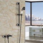 GOWE Dual Cross Handle Shower Faucet Set Wall Mount Handheld Sliding Bar Shower Mixer Tap Oil-rubbed Bronze