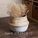 Garden Natural Seagrass Flower Basket Planter Nursery Pots Portable Handled Sundries Storage Basket Garden Supplies Flower Pots Size 27X24CM