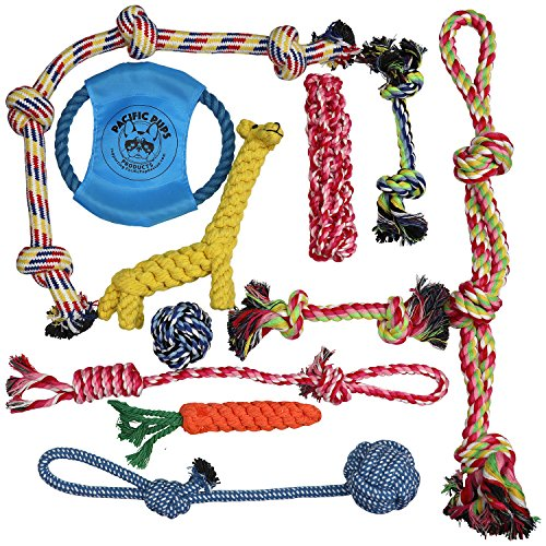 Pacific Pups Products Dog Rope Toys for Aggressive Chewers – Set of 11 Nearly Indestructible Dog Toys – Bonus Giraffe Rope Toy – Benefits NONPROFIT Dog Rescue