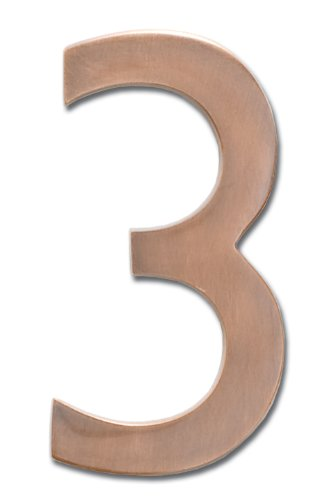 Architectural Mailboxes 3585AC-3  Brass 5-Inch Floating House Number 3, Antique Copper