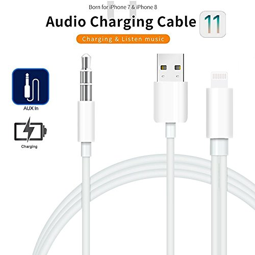 Weytech 3.5mm AUX Car Cable, 2 in 1 Audio Cable USB/3.5mm Audio Car Cable Compatible with iPhone X, 8, 8 Plus, 7, 7 Plus, Perfect for Car/Home Stereos (Supports iOS 10/11)