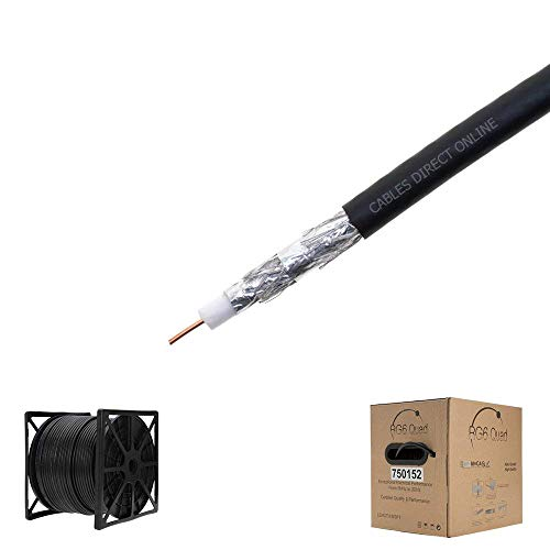 RG6 500ft Dual Shield Coaxial Cable, 18 AWG Copper Clad Steel Conductor , Foam PE Core, 60% aluminum braid, PVC Jacket, Reel in Box (500FT, Black)