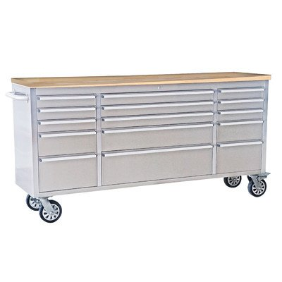 72″ Wide 15 Drawer Stainless Steel Anti-Fingerprint Tool Chest with Work Station