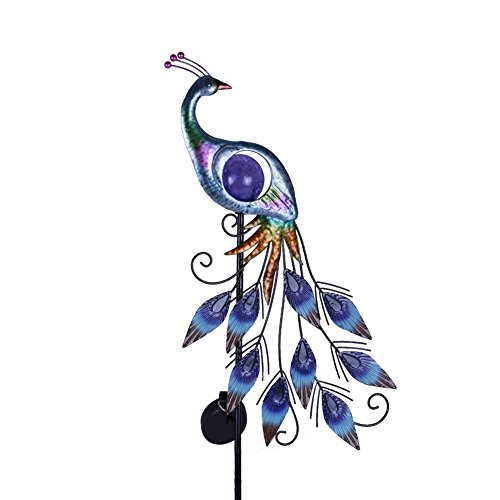 """Hannah's Cottage 31.5"""" Outdoor Paradise Metal Garden Stake with Solar Led Lights, Decorative Solar Peacock Stake for Garden, Patio, Backyard and Outdoor (Green and Blue)"""