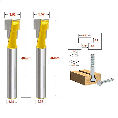 Comidox 1/4″ Shank T-Slot Cutter End Mill Router Bits woodworking cutter, Keyhole knife Photo frame hanging hole knife Photo frame knife Scythe carving knife 2PCS