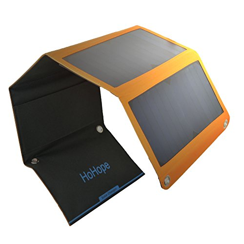 Solar Charger 28W Solar Panel with 5V 2.4A 2-Port USB-Ports Waterproof for Camping Travel Tablets, iPhone, Camera and More
