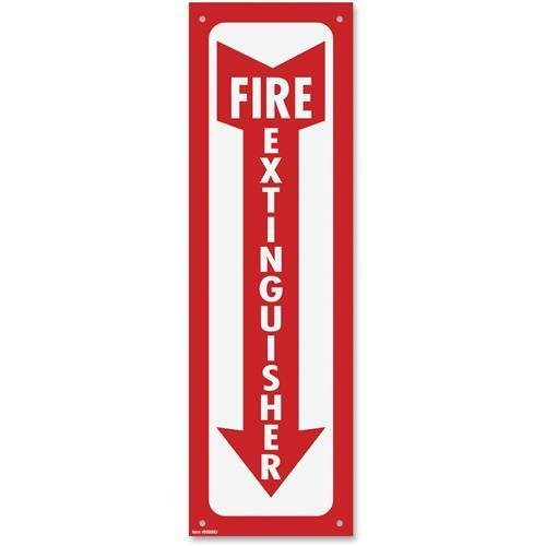 """098063 COSCO Fire Extinguisher Sign – """"Fire Extinguisher"""" – 4″ Width x 13″ Height – Plastic – Red, White"""