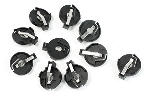 VNDEFUL 10 Pcs Black CR2016 2025 2032 23mm x 6mm Coin Cell Button Battery Holder