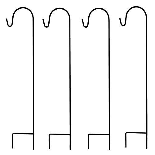 Ashman Shepherd's Hooks, Black, Set of 4 made of Premium Metal for Hanging Solar Lights, Bird Feeders, Mason Jars, Plant Hangers, Flower Basket, Christmas Lights, Lanterns, Garden Stakes and Weddings