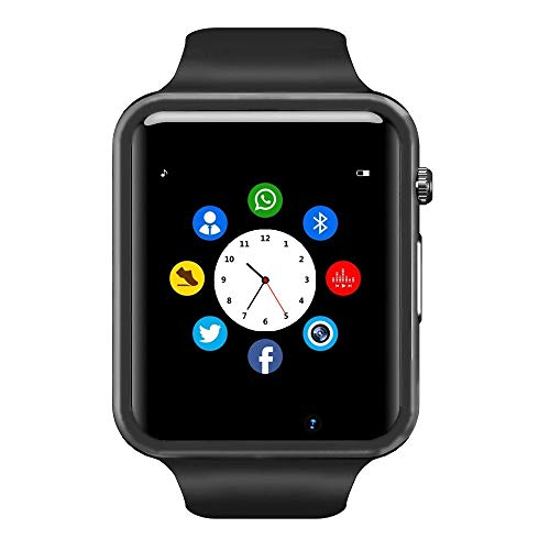 Bluetooth Smart Watch – Wzpiss Smartwatch Touch Screen Wrist Watch with Camera/SIM Card Slot Compatible with iOS iPhones Android Samsung for Kids Women Men (Black)