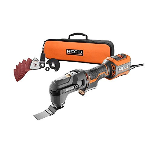"Ridgid R28602 JobMax 4 Amp Corded Multi Tool with Replaceable Heads (Sander Head, Sanding Pads, Crescent Saw and 1 1/8"" Wood Cutting Blade Included)"