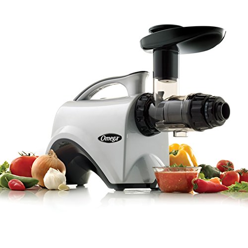 Omega Juicer NC800 HDS Juicer Extractor and Nutrition Center Creates Fruit Vegetable and Wheatgrass Juice Quiet Motor Slow Masticating Dual-Stage Extraction with Adjustable Settings, 150-Watt, Silver