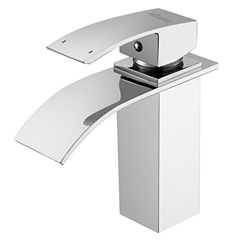 ROVOGO Bathroom Sink Faucet with Waterfall Spout, Single Handle Single Hole Deck Mount Cold and Hot Mixer Tap, Brass Lavatory Sink Faucet, Chrome