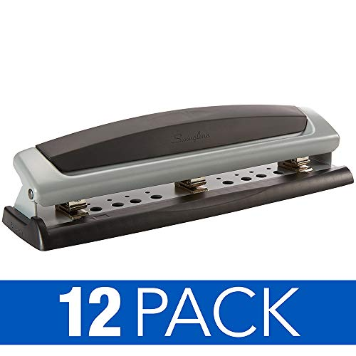 Swingline Desktop Hole Punches, Hole Punchers, Precision Pro, Adjustable, 2-3 Holes, 10 Sheet Punch Capacity, Black/Silver, 12 Pack (74037CS)