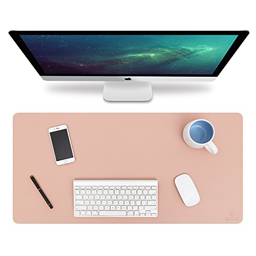 Knodel Desk Pad Protector, 31.5″ x 15.7″ PU Leather Blotter, Rectangular Laptop Desk Mat, Non-Slip Mouse Pad, Waterproof Gaming Writing Mat for Office and Home, Dual-Sided (Pink/Silver)