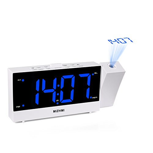 MIZHMI Projection Alarm Clock, Dual Alarms with FM Radio USB Charging Dimmer 5.5″ LED 12/24 Hour Display and Dimming Nap/Sleep Timer Snooze Function
