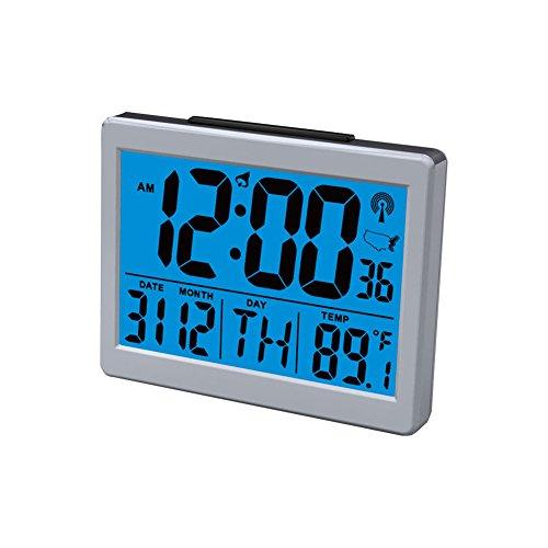 Jumbo Font Atomic Clock Self-Setting Self-Adjusting Time Display, with Snooze Light Large LCD Backlight Display Time & Indoor Temperature, Battery Powered Deskside Alarm Clock HM27
