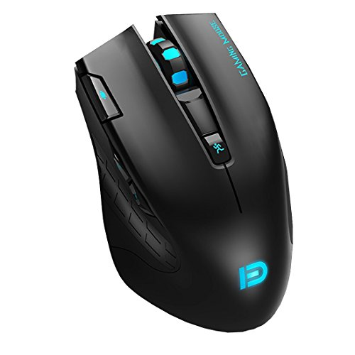 Forter i750 2.4GHz Wireless Gaming Mouse Optical Mice with USB Nano Receiver, 7 Buttons, 6 Adjustment DPI Level and 6 Colors Breathing Lights for PC, Laptop and Mac – Black