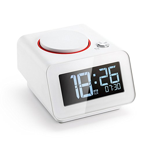 Homtime Alarm Clock for Bedroom with Dual USB Charger Ports for iPhone,Digital Clock,Dimmable,Snooze White