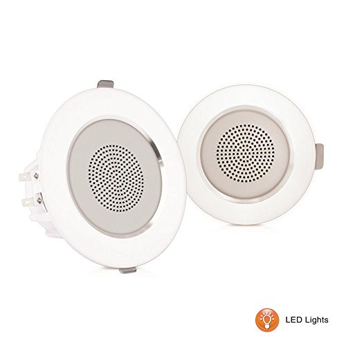 "Pyle 4"" Pair Flush Mount in-Wall in-Ceiling 2-Way Home Speaker System Built-in LED Lights Aluminum Housing Spring Clips Polypropylene Cone & Tweeter 2 Ch Amplifier 160 Watts (PDICLE4)"