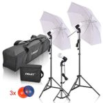 Emart Studio LED Photography Umbrella Lighting Kit, 500W 5500K LED Photo Lights Camera Lighting, Continuous Lighting, Portrait Video Shooting – Umbrella Reflector Light