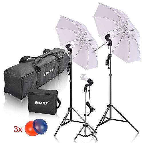 Emart Studio LED Photography Umbrella Lighting Kit, 500W 5500K LED Photo Lights Camera Lighting, Continuous Lighting, Portrait Video Shooting – Umbrella Reflector Light