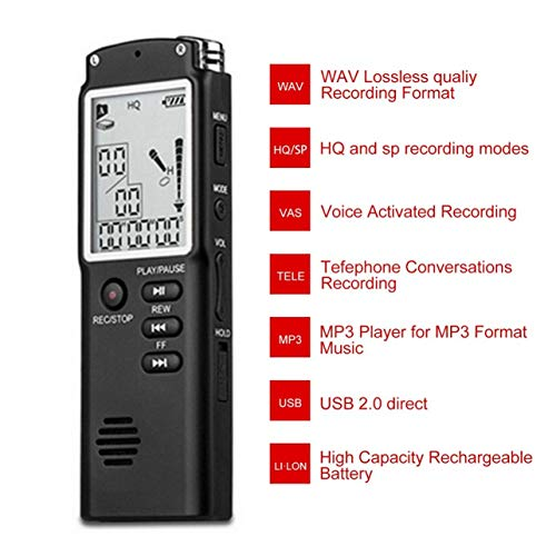 T60 Professional Digital Voice Recorder Time Display Dictaphone MP3 Player(Color:Black)
