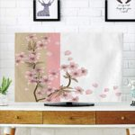 LCD TV Cover Lovely,Japanese,Romantic Sakura Blooms Flowers Petals Spring Wind Eastern Nature Theme,Sand Brown Light Pink,Diversified Design Compatible 55″ TV