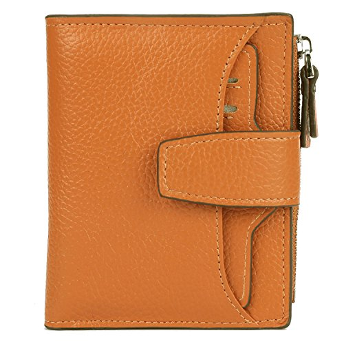 AINIMOER Women's RFID Blocking Leather Small Compact Bi-fold Zipper Pocket Wallet Card Case Purse with id Window (Lichee Orange)