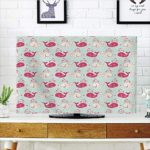 LCD TV dust Cover Strong Durability,Whale,Cute Happy Cheerful Whales Pattern in Soft Pastel Tone Effects Love Nature Image,Mint Peach Pink,Picture Print Design Compatible 32″ TV