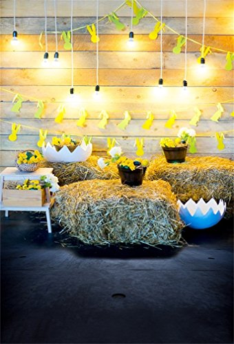 Leyiyi 4x6ft Photography Background Happy Easter Backdrop Rabbit Banner Colored Egg Shells Spring Holiday Room Inside Wooden Cottage Bulbs Haystock Flora Bunny Photo Portrait Vinyl Studio Video Prop