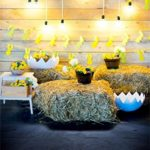 Leyiyi 8x10ft Photography Background Happy Easter Backdrop Rabbit Banner Colored Egg Shells Spring Holiday Room Inside Wooden Cottage Bulbs Haystock Flora Bunny Photo Portrait Vinyl Studio Video Prop