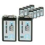 ANSMANN 9V Rechargeable Batteries 300mAh pre-Charged Low Self-Discharge (LSD) NiMH 9 Volt Battery 9V Battery (10-Pack)