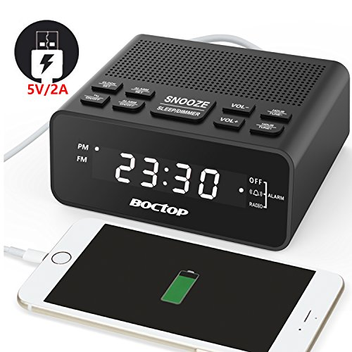 Boctop Digital LED Alarm Clock Radio with Sleep Timer FM Radio, 2A USB Charger, Dimmer, Snooze for Bedrooms