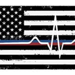 Back The Red & Blue Stacked decal – Thin Blue/Red Line flag thin line EMS – (PACK OF 2)